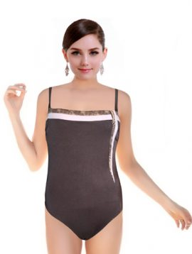 Women's Sexy Brown One Side Print Swimsuit