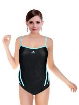 Adidas Black Sporty With Blue Rib Swimsuit