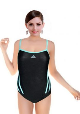 Adidas Black Sporty With Blue Rib Swimsuit