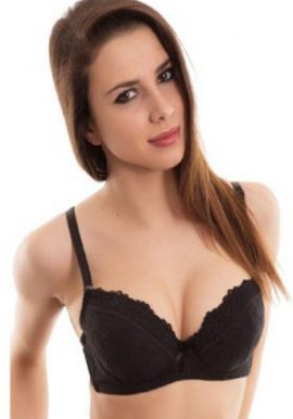 Blush Full Sexy Black Net Underwired Push Up Bra