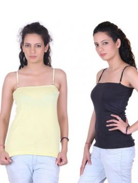 Natural Breathable Pk Of 2 Spaghetti Tops