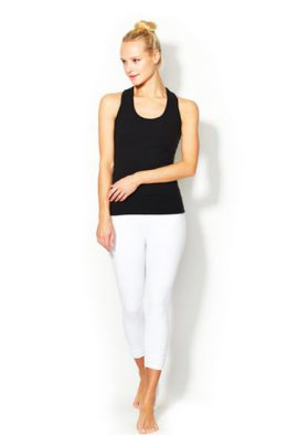 Black Tank White Capri Lagging Affordable Workout Set