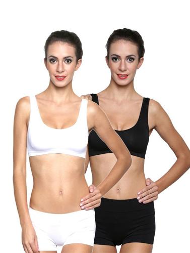 fd172f909d558 Black White Medium Support Sports Bra Sets