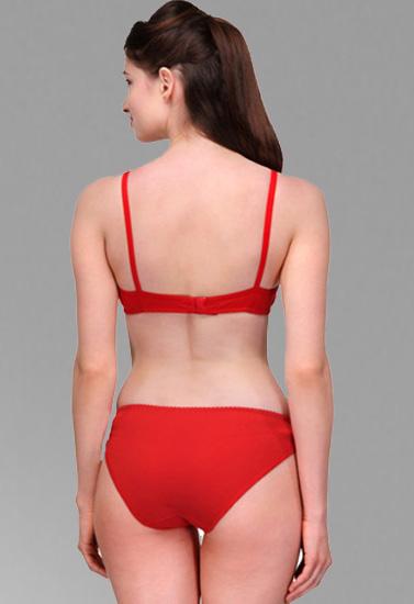 Comfy Red Cotton Everyday Bra Panty Set eaff28bfa