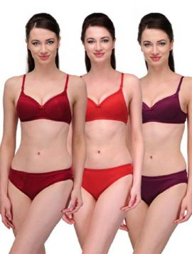 Elegant Solid Color Bra Sets ( Pk of 3)