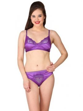 Fabulous Purple Satin Bra Panty Set