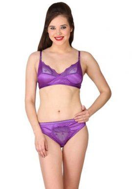 Fabulous Purple Satin Bra Panty Set