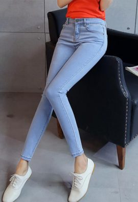 Korean Fashion Girl Slim Denim Pencil Pants