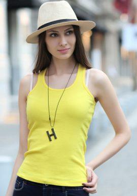 Ladies Essential Yellow Racerback Tank Top