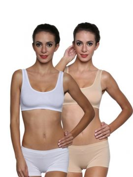 Seamless Stretchy Beige White Sports Bra Set 2