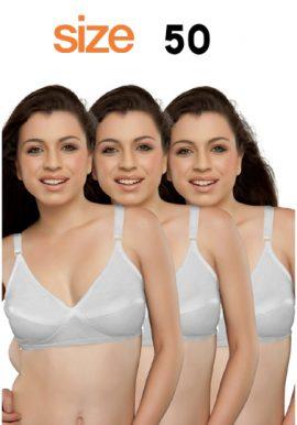 Plus Size Full Coverage Pure Cotton White Bra 3-Pk