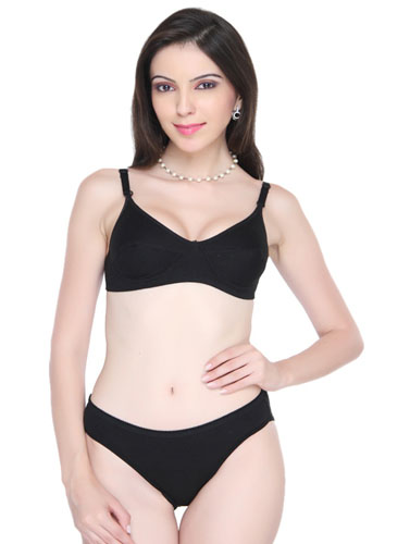 be7669341 Women s Classic Smooth Black Bra And Panty Set