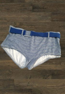 Lillylane Cool Blue White Strips Boyshort With Belt