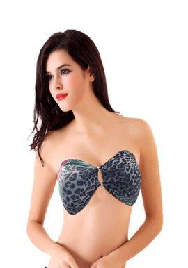 Sexto Senso Leopard Print Bandeau Bikini Top