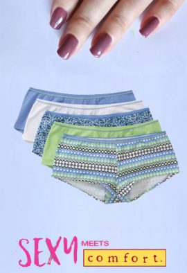 5-Pack Multi Colors Cotton Boyshort Panties