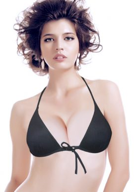 Black Front Tie Triangle Push-Up Bikini Top