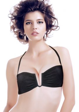 AP Black U Center Bandeau Halter Bikini Top