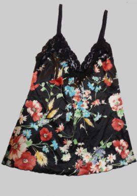 D&G Black Floral Print Lace Trim Camisole