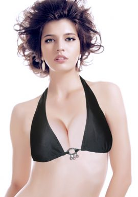 Black Metal Ring Center Halter Bikini Top