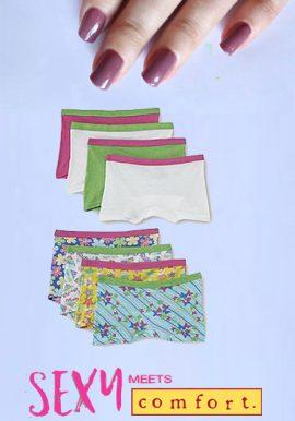 Snazzyway Plain & Printed Mix Boyshorts Panties 8-Pk