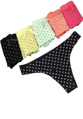 Wholesale Lot of 6 Polka Dot Thong Panties
