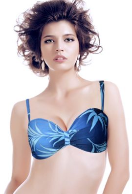 Blue Leaf Print Light Padded T-shirt Bra