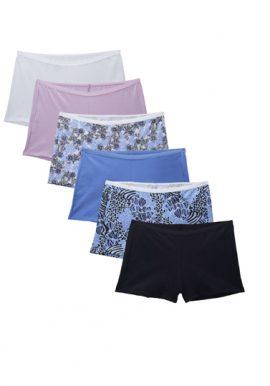 Snazzyway Ladies Comfort Cotton Boyshort 6-Pack