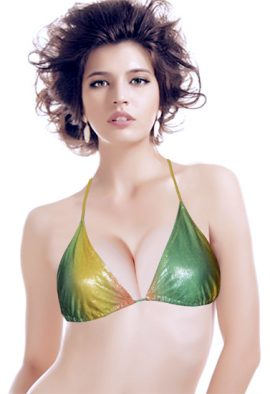Beyond Green Yellow Sparkling Halter Bikini Top