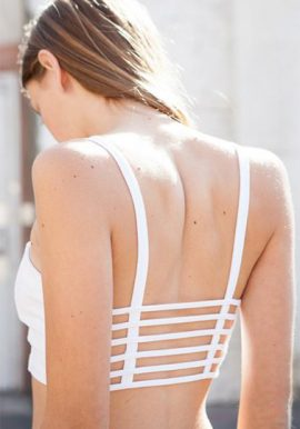 Stylish White Padded Cut Out Back Cage Bra
