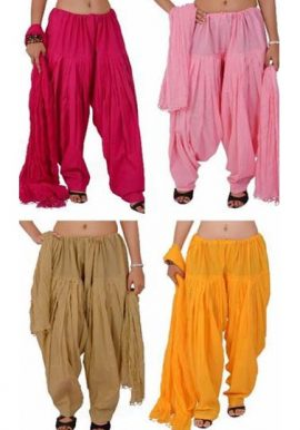 4 Readymade Pleasant Cotton Patiala Salwar