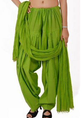 Parrot Green Handmade Cotton Patiala Salwar