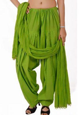 Parrot Green Handmade Cotton Patiala Salwar