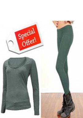 Scoop Neck Long Sleeve Top With Fitted Legging
