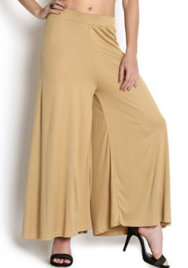Snazzyway- Beige Mid Rise Palazzo Bottom