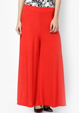 Snazzyway- Modern Relaxed Fit Red Palazzo Trouser