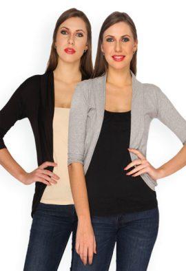 Women's Soft Black & Grey Pack Of 2 Shrugs