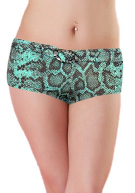H&M Green Brown Print Boyshort Panty With Belt
