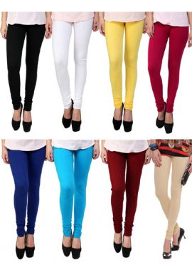 Soft Cotton Elastic Waistband Leggings 8-Pack