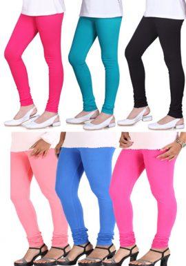 Women's Cotton Multi Colors Leggings 6-Pk