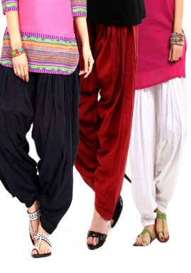 Pack Of 3 Versatile Colors Cotton Patiala Bottoms