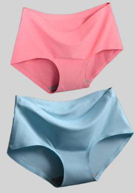 Peach And Sky Blue Seamless Hipster Panties 2-Pack