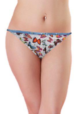 Butterfly Printed Stretchy String Bikini Bottom