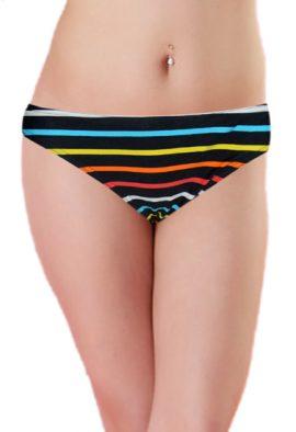 Multi Stripe Print Mid Waist Scoop Bikini Bottom