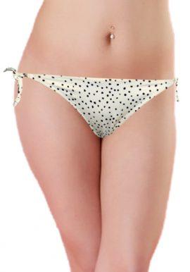 H&M White Black Polka Dot String Bikini Bottom