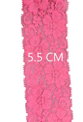 5 Meter Premium neon pink Stretch lace trim 5.5 Cm Wide
