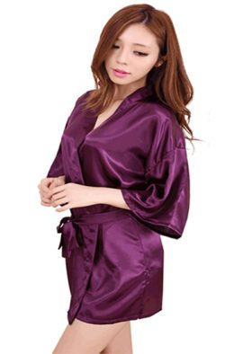 Buy Crepe Purple Robe With Free Thong Panty