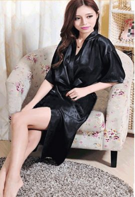 Buy Long Full Sleeve Black Crepe Robe With Thong