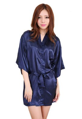 Crepe Navy Blue Short Style Robe With Free Thong