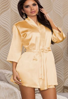 Female Hot Beige Crepe Robe With Free Thong Panty