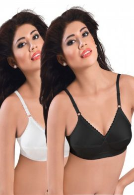Plus Size- Pack Of 2 Black & White Cotton Front Bras